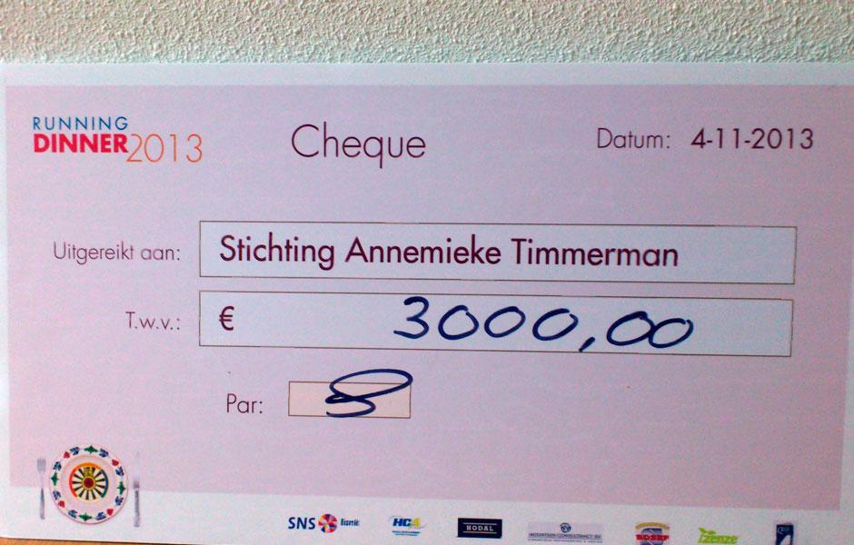3.000 Euro opgehaald met het Running Dinner in Almere Haven